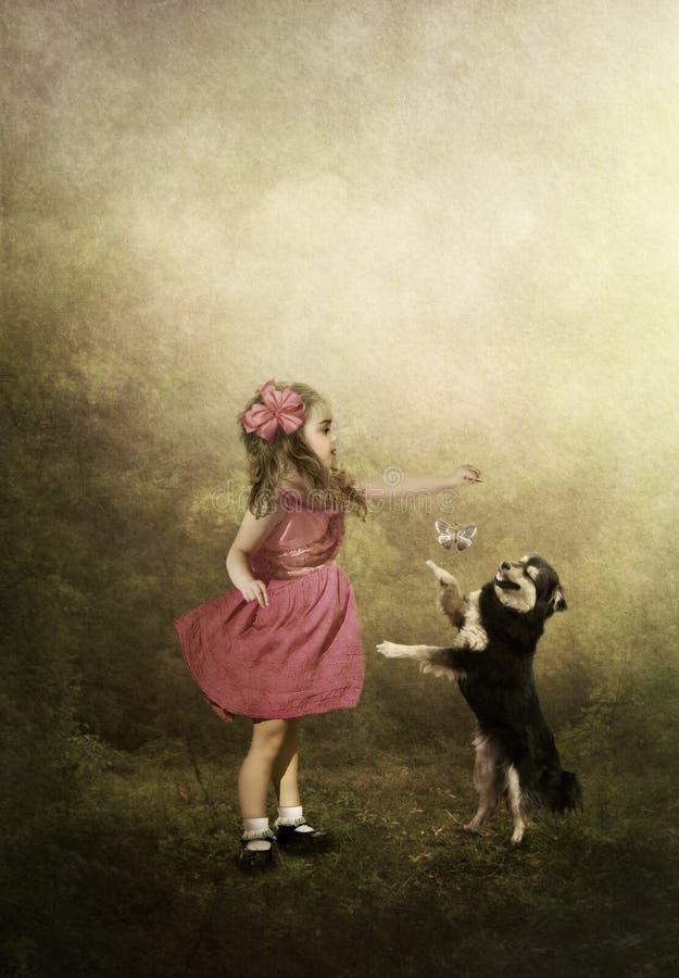 Meisjespelen met een hond vector illustratie