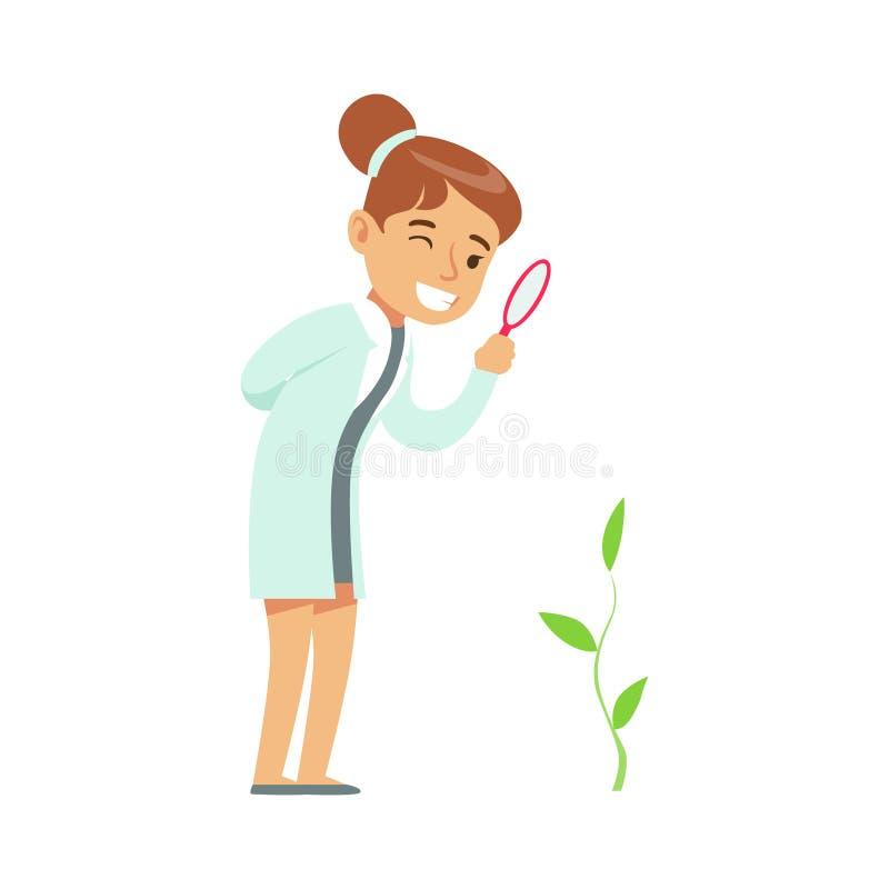 Meisjesplantkundige Studying Plant die, Jong geitje het Onderzoek doen die van de Plantkundewetenschap van het Worden dromen Prof vector illustratie