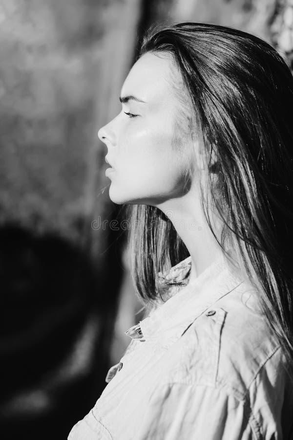 Meisjesportret met sproet op jong gezicht, mooie vrouw stock afbeelding