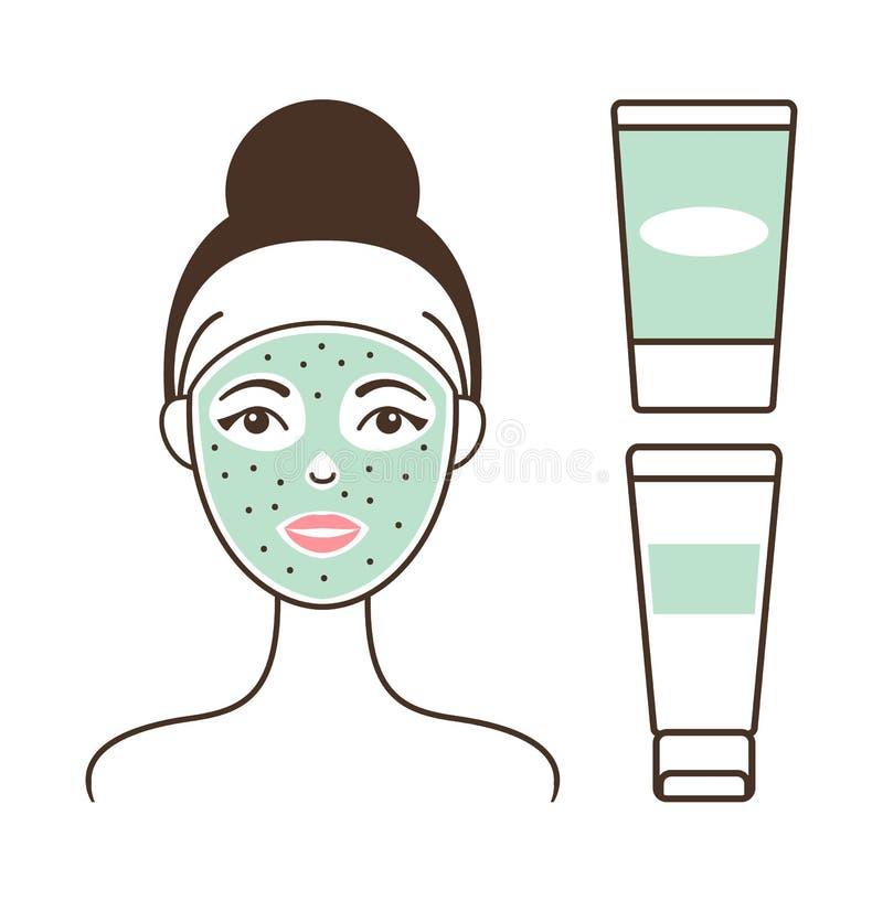 Meisjess Gezicht met Groene Masker Vectorillustratie stock illustratie