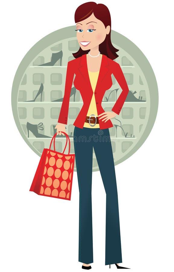 Meisjesschoen het winkelen stock illustratie
