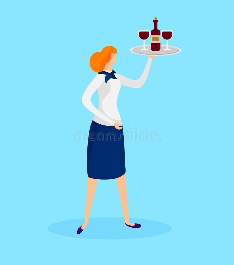 Meisjesserveerster Holding Tray met Fles en Glazen stock illustratie