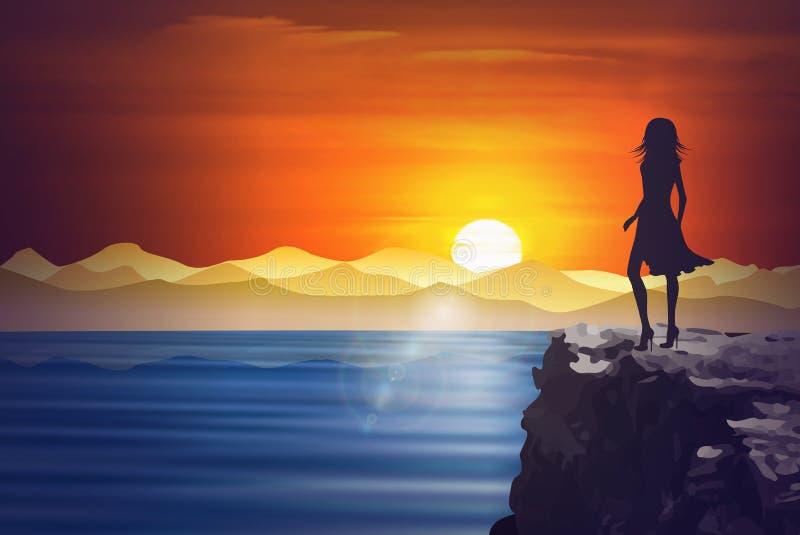 Meisjessilhouet die van de zonsondergang van een klip boven het water genieten vector illustratie
