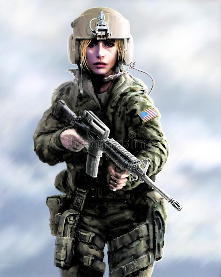 Meisjesstrijder in een helm en met aanvalsgeweer in hun handen stock afbeelding