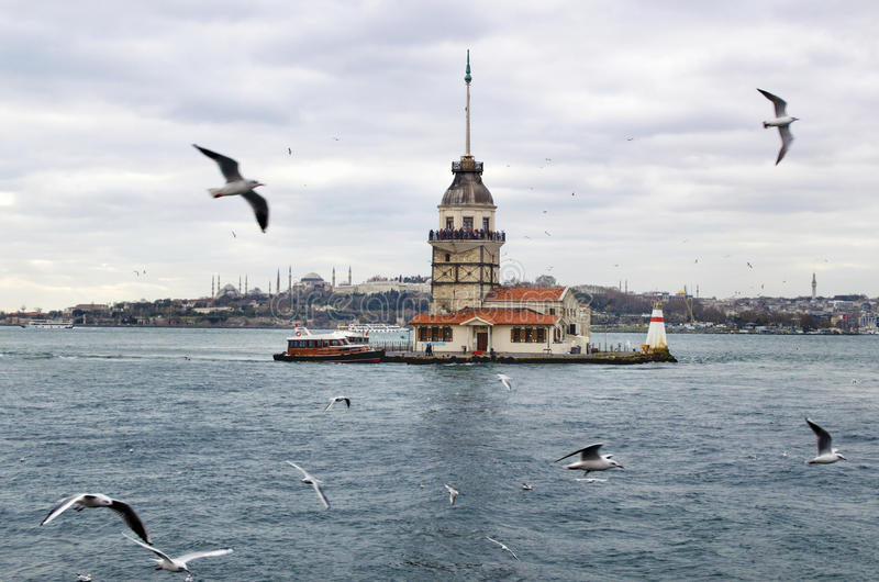 Meisjestoren in Istanboel stock fotografie