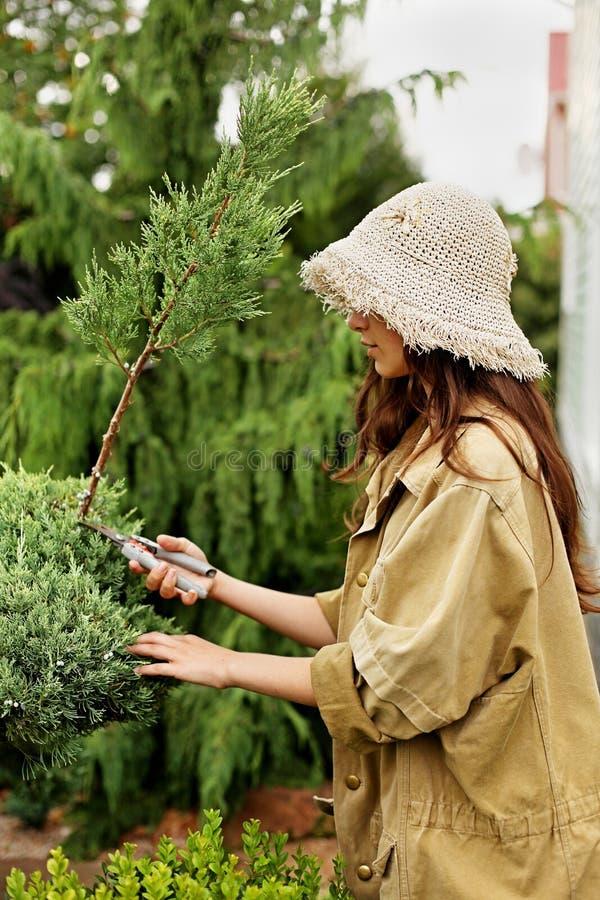 Meisjestuinman in werkkledij en de besnoeiingen altijdgroene tuinscissoors van de strohoed royalty-vrije stock afbeelding