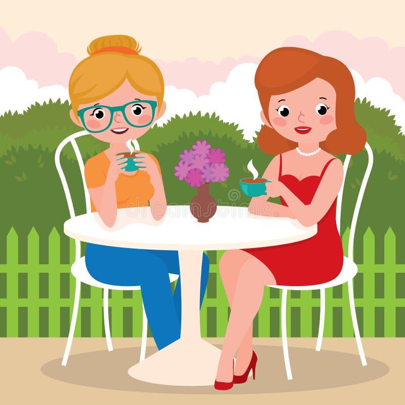 Meisjesvrienden in een openluchtkoffie vector illustratie