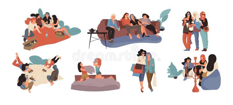 Meisjesvrienden Jonge wijfjes die etend samen het dansen en doorbrengend tijd, het concept van de vrouwenvriendschap winkelen royalty-vrije illustratie