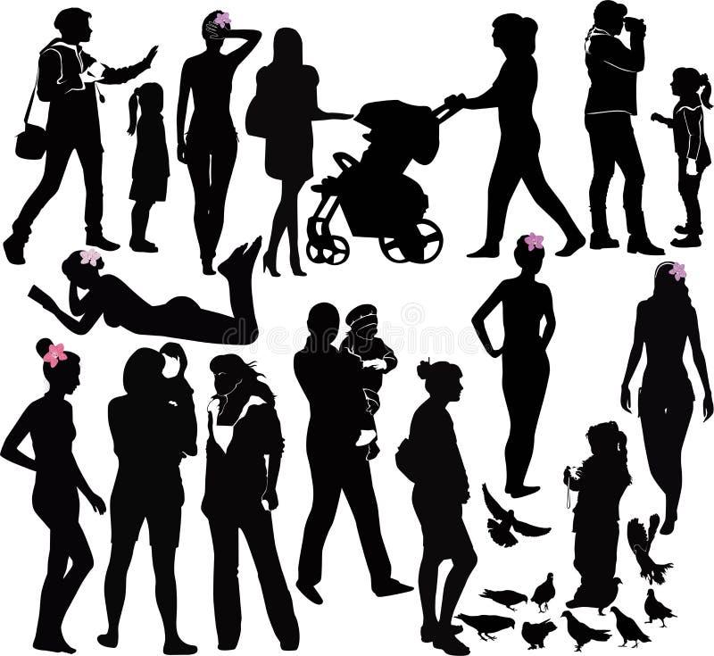Meisjesvrouwen en kinderen stock illustratie