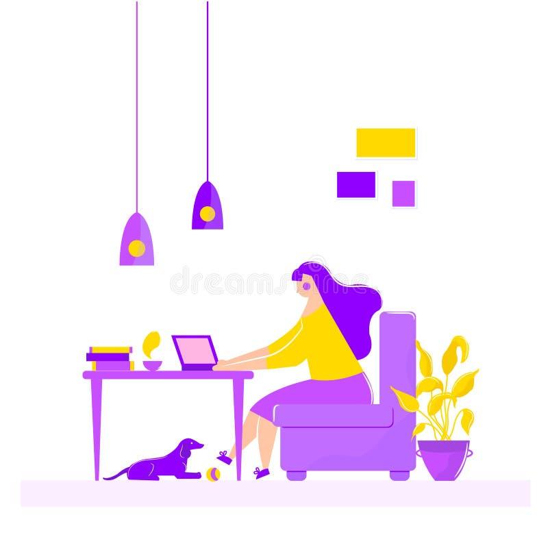 Meisjeszitting in leunstoel die aan laptop bij het lijst freelance werk thuis werken royalty-vrije illustratie