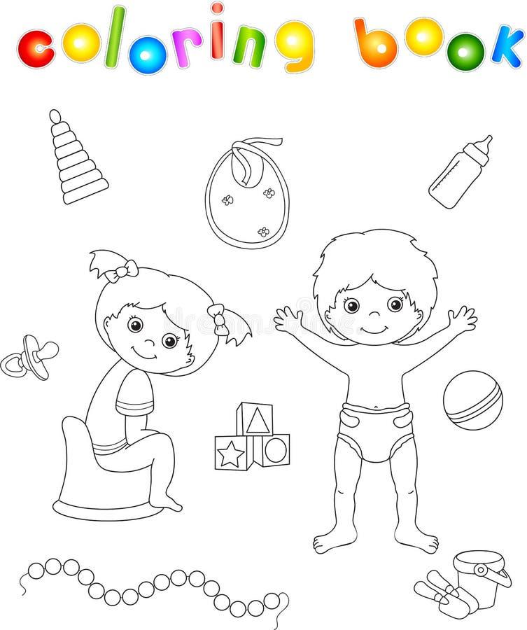 Meisjeszitting op de kamerpot en de jongen die zich in luier bevinden Speelgoed stock illustratie