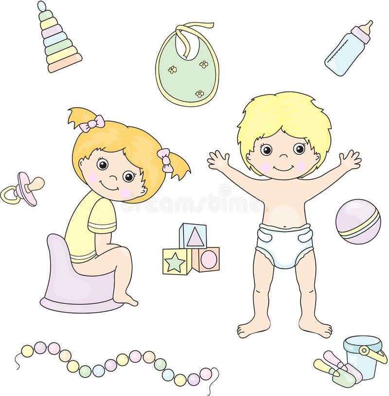 Meisjeszitting op de kamerpot en de jongen die zich in luier bevinden Speelgoed royalty-vrije illustratie
