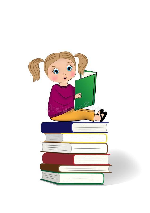 Meisjezitting op de bovenkant van stapel van boeken en lezing op de witte achtergrond van Th, verticale vectorillustratie worden  stock illustratie