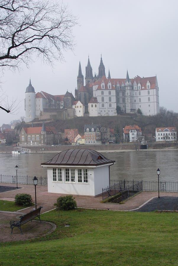Meissen en niebla de la mañana fotografía de archivo libre de regalías