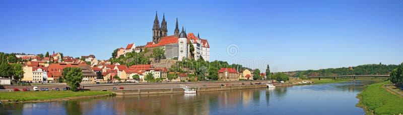 Meissen op de Elbe rivier, Duitsland stock afbeelding