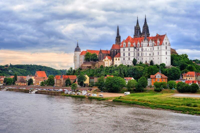 Meissen oude stad met kasteel en kathedraal, Duitsland royalty-vrije stock fotografie