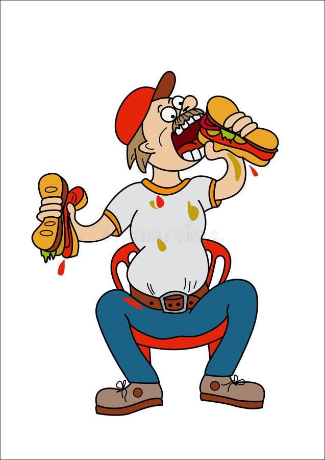 Meister durch das Essen von sandwitch stock abbildung