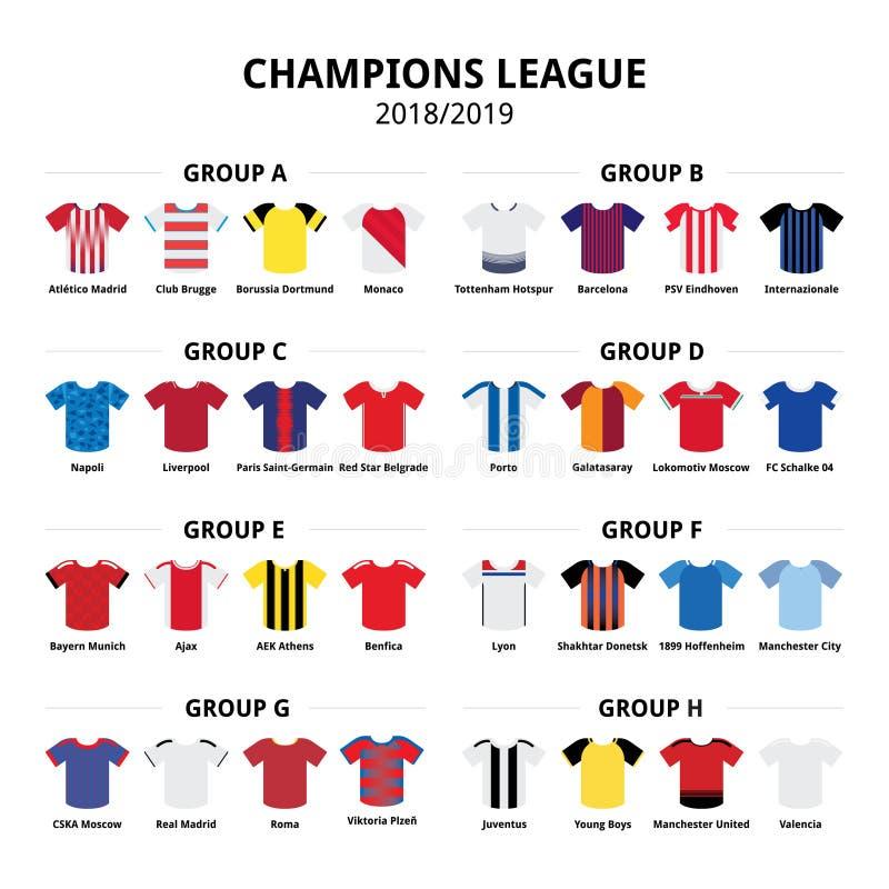 Meister-Ligafußball-Trikotausrüstung 2018 - 2019, Fußballteam-Ausrüstungsvektor-Ikonengruppenphase A - H vektor abbildung