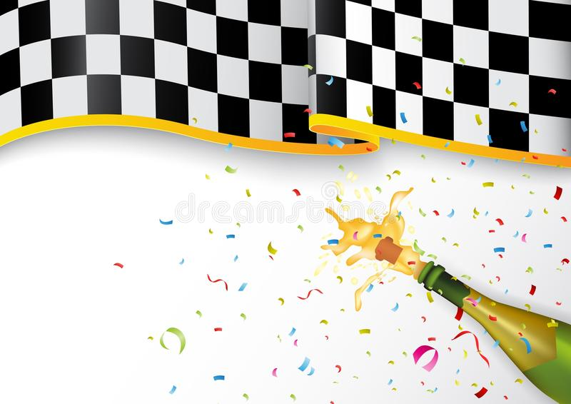 Meisterfeier mit Champagnerexplosion und -Konfettis lizenzfreie abbildung