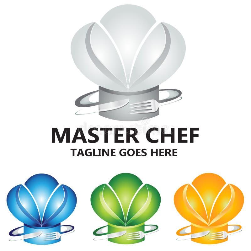 Meisterkoch Culinary Food Concept Logo Vector Design lizenzfreie abbildung