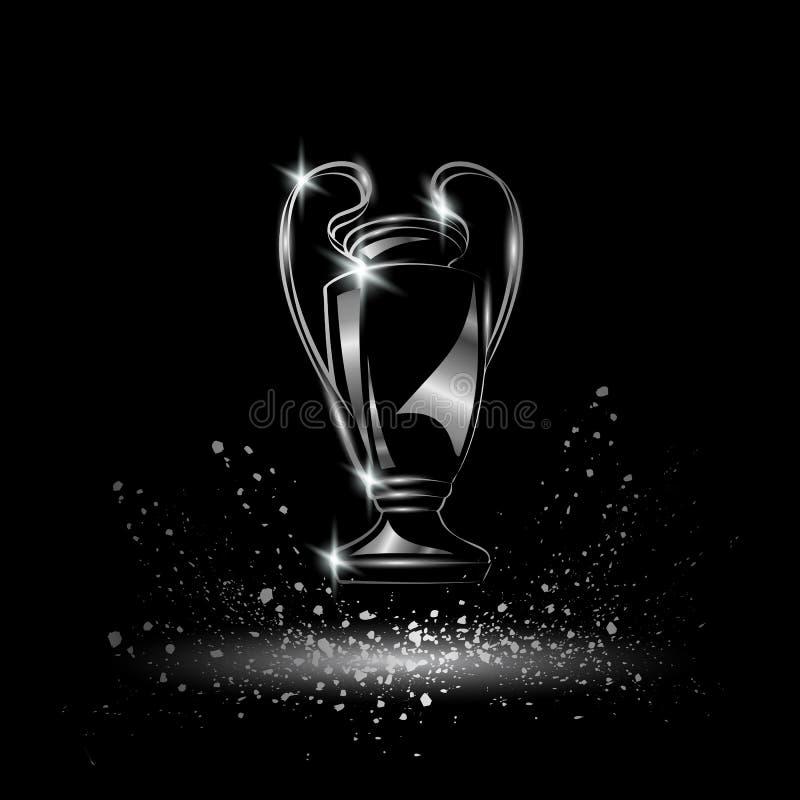 Meisterschaft Metallische chromierte Fußballtrophäe vektor abbildung