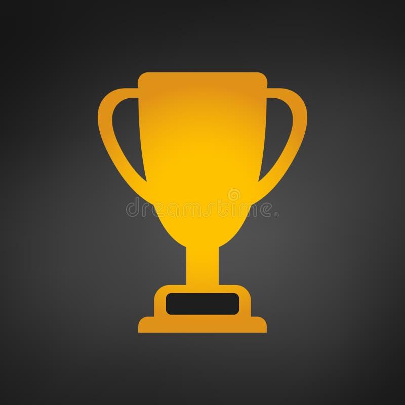 Meisterschaftsgoldschalenikone, Vektorillustration Leistung in der goldenen Trophäe des Sports lizenzfreie abbildung