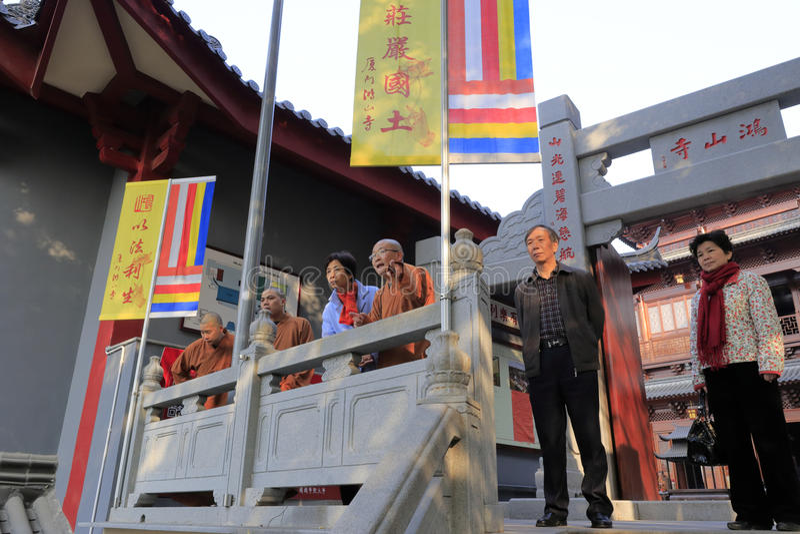 Mej. die (in blauw) huangling ontmoet fayun abt royalty-vrije stock foto's