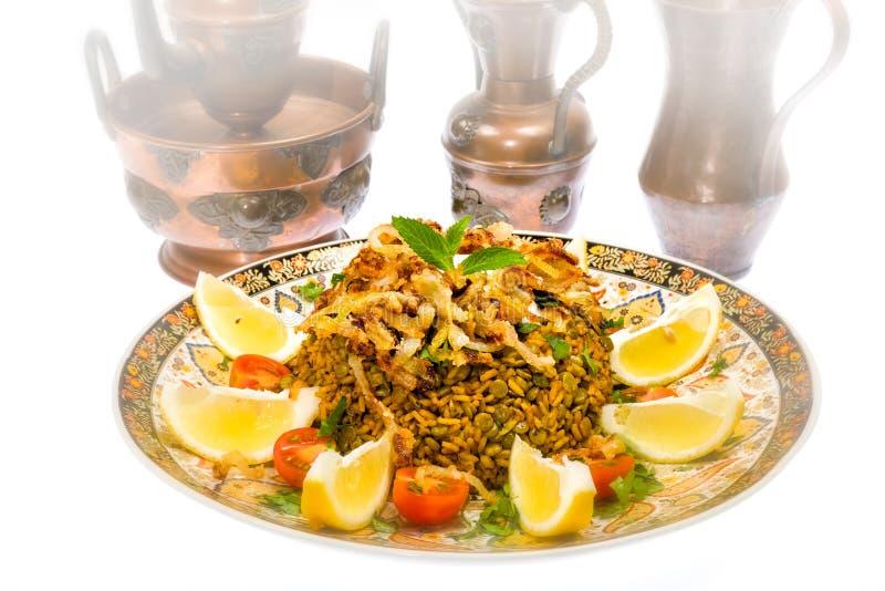 Mejadra - prato árabe imagem de stock royalty free