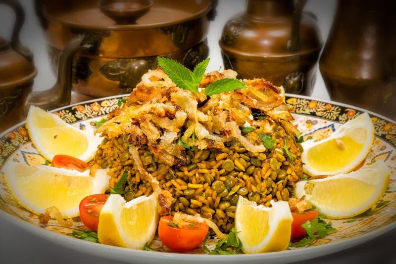 Mejadra - prato árabe foto de stock