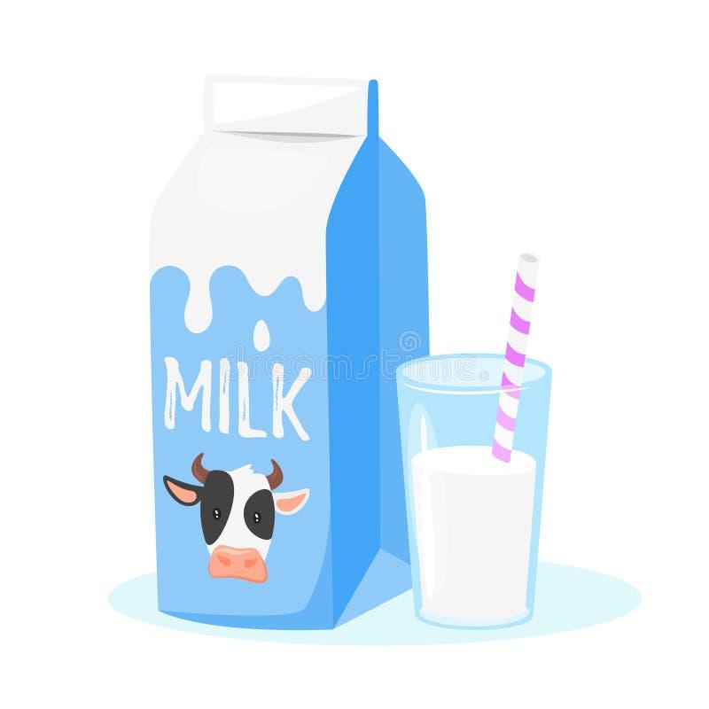 Mejeriprodukter: mjölka emballage stock illustrationer