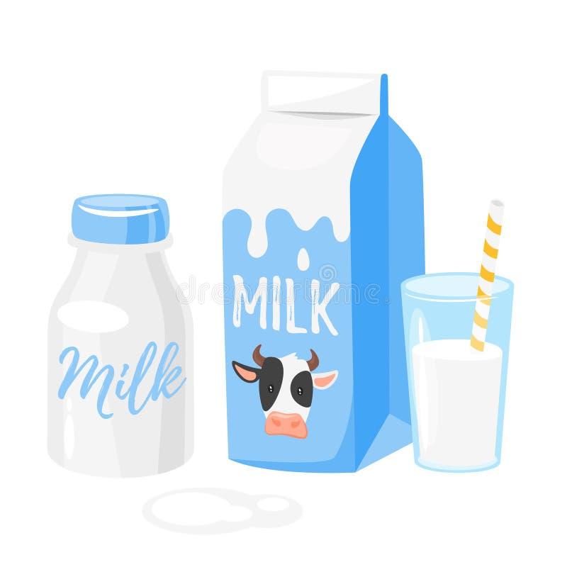 Mejeriprodukter: mjölka emballage royaltyfri illustrationer