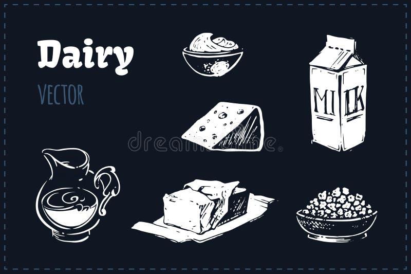 Mejeriproduktillustrationuppsättning vektorn skissar vektor illustrationer