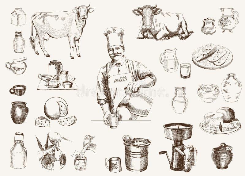 Mejeriproduktion vektor illustrationer