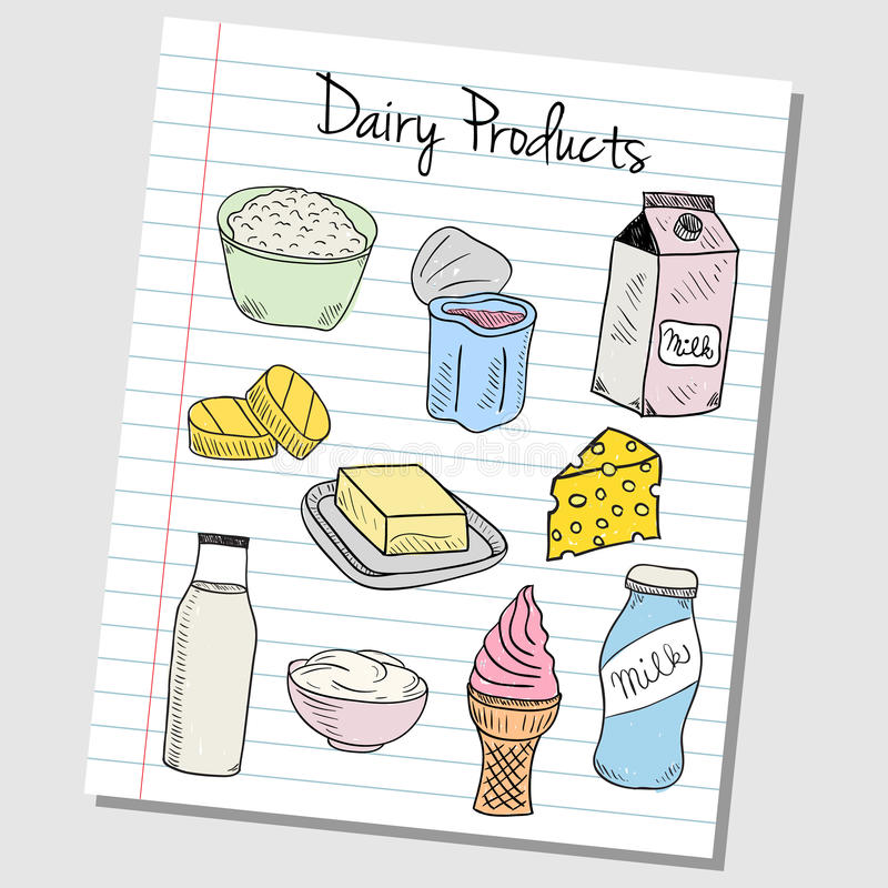 Mejeriproduktklotter - fodrat papper royaltyfri illustrationer
