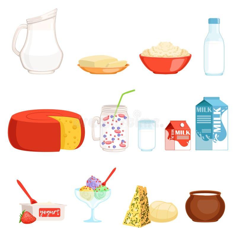 Mejeriproduktuppsättningen, mjölkar, breder smör på, ost, yoghurten, gräddfil, glassvektorillustrationer royaltyfri illustrationer