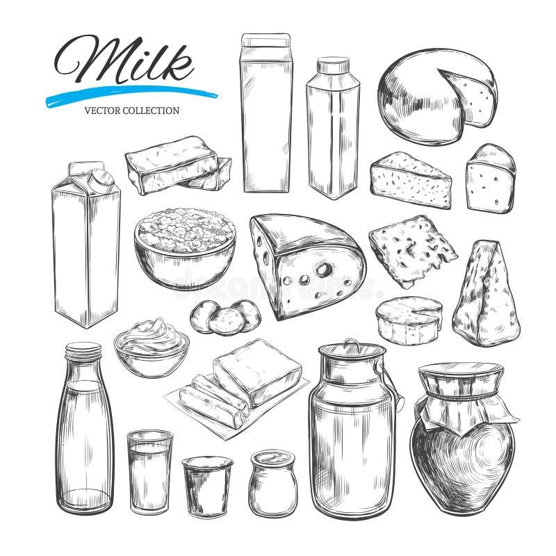 Mejeriproduktvektorsamling Mjölka produkter, ost, smör, gräddfil, ostmassa, yoghurt LantgårdFoods Lantgårdlandskap med kon H vektor illustrationer