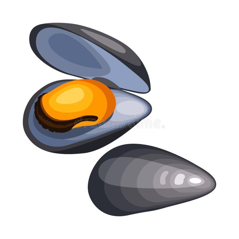 Mejillones en cáscara Ejemplo aislado de los mariscos en el fondo blanco ilustración del vector