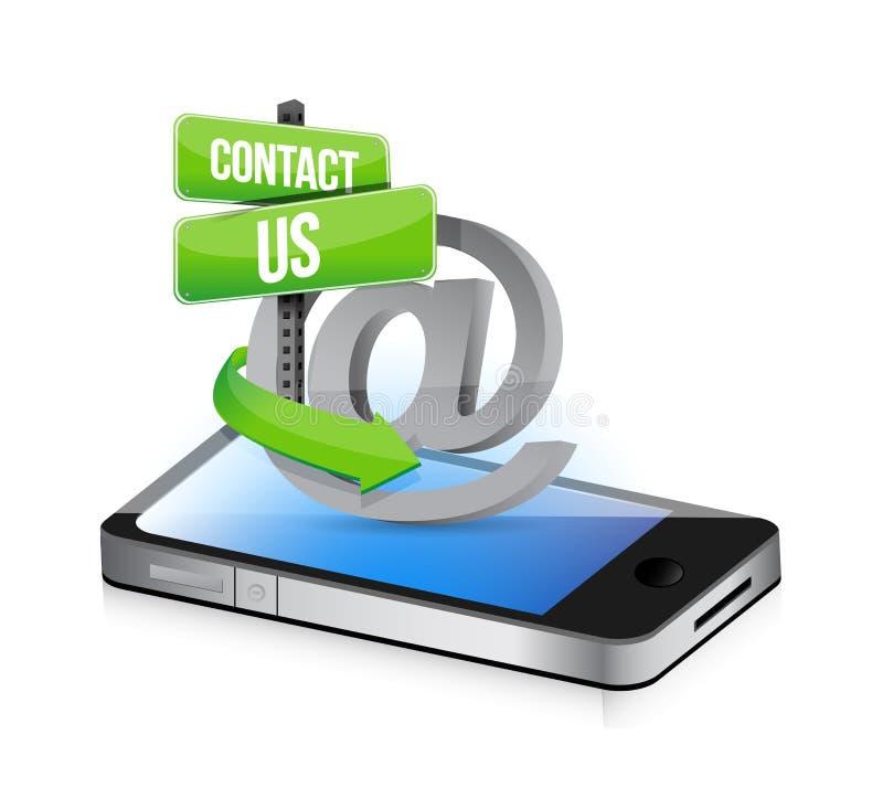 Mejl kontaktar oss på teckenillustrationdesignen royaltyfri illustrationer