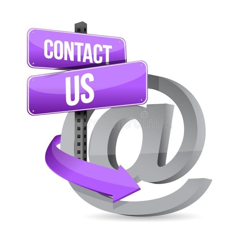 Mejl kontaktar oss på teckenillustrationdesignen vektor illustrationer