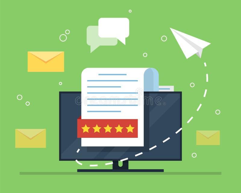 Mejlmarknadsföring Begreppet av en öppen mejl med ett bygga bo dokument mot bakgrunden av en datorbildskärm och ett a royaltyfri illustrationer