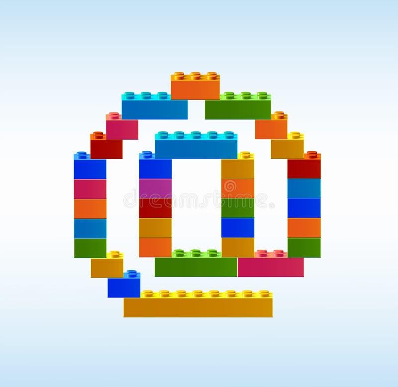 Mejlsymbol från kvarteren av konstruktörn vektor illustrationer
