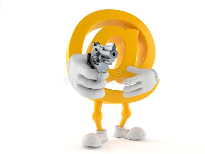Mejltecken som siktar ett vapen stock illustrationer
