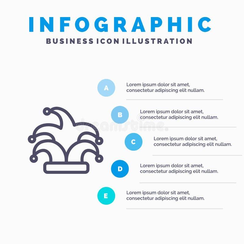 Mejor, corona, rey, línea icono del madrigal con el fondo del infographics de la presentación de 5 pasos libre illustration