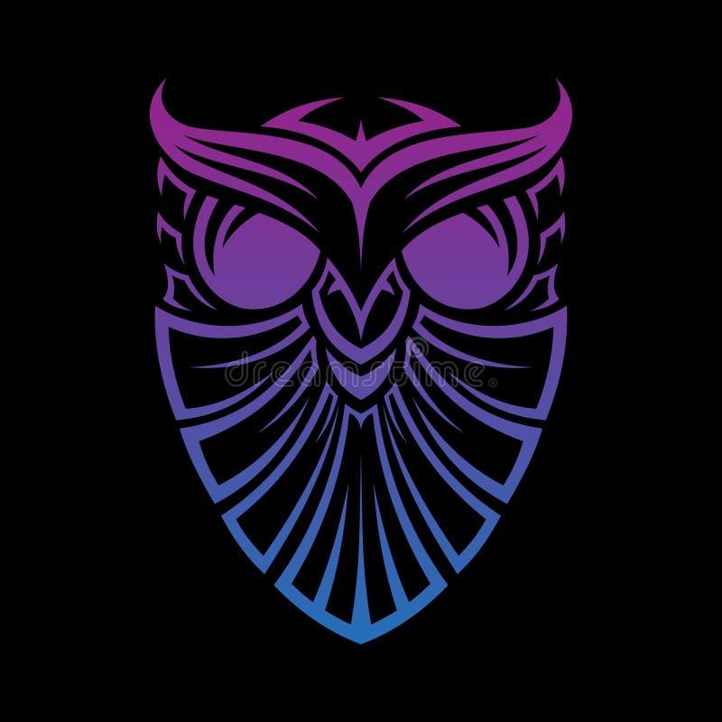 Mejor de la mejor línea gráfica creativa diseño del búho del escudo de concepto tribal del vector de la tecnología de la plantill stock de ilustración