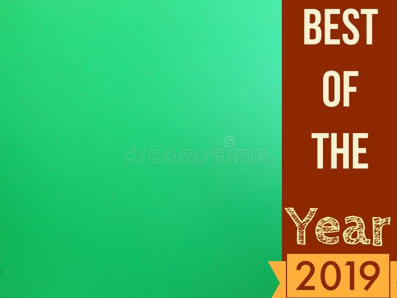 Mejor de la página del año 2019 con la pantalla verde en blanco para el uso ilustración del vector