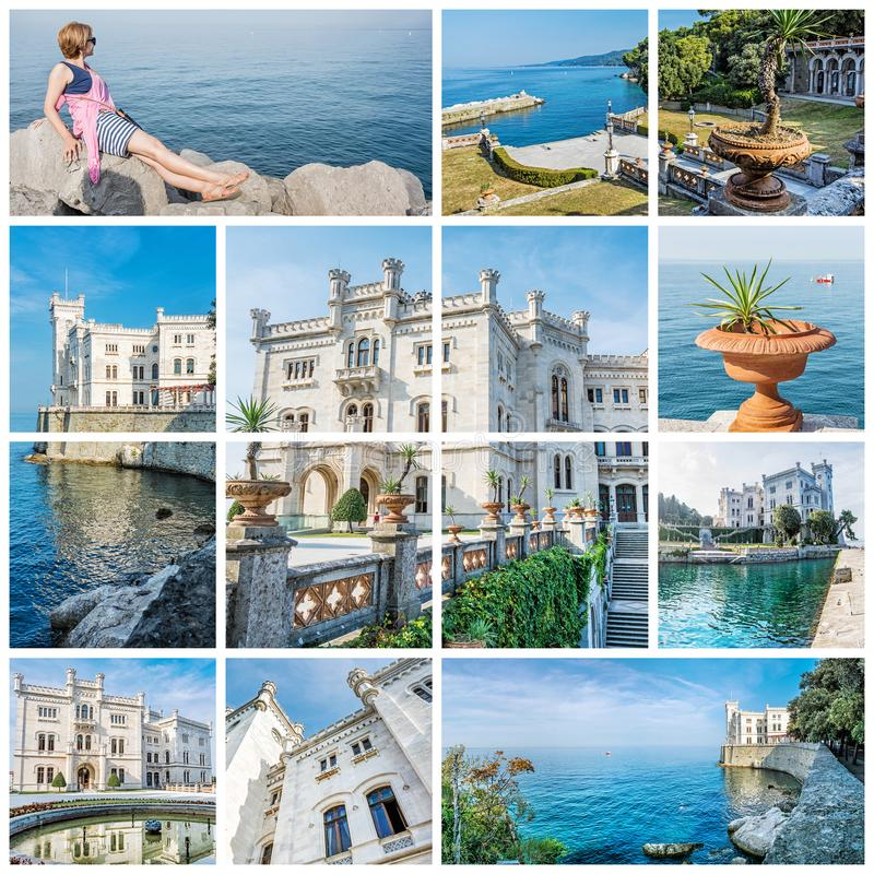 Mejor del castillo de Miramare cerca de Trieste, Italia imagen de archivo