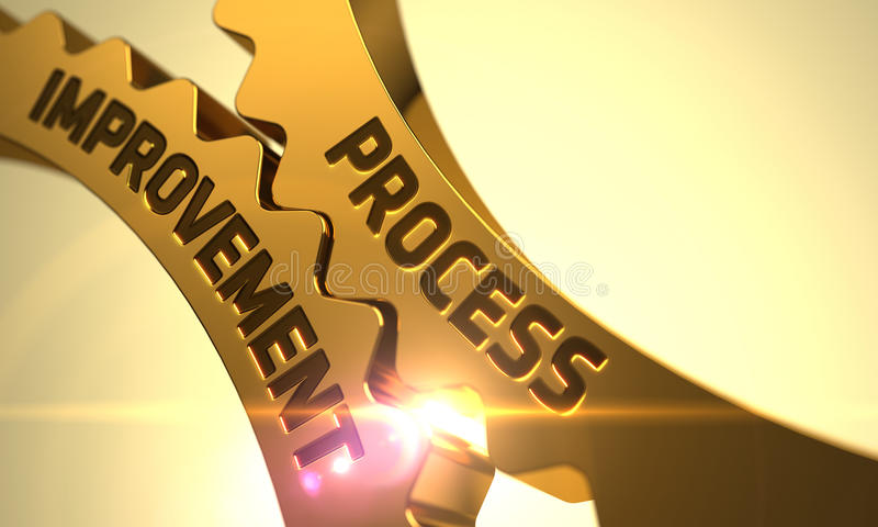 Mejora de proceso en las ruedas dentadas metálicas de oro ilustración del vector