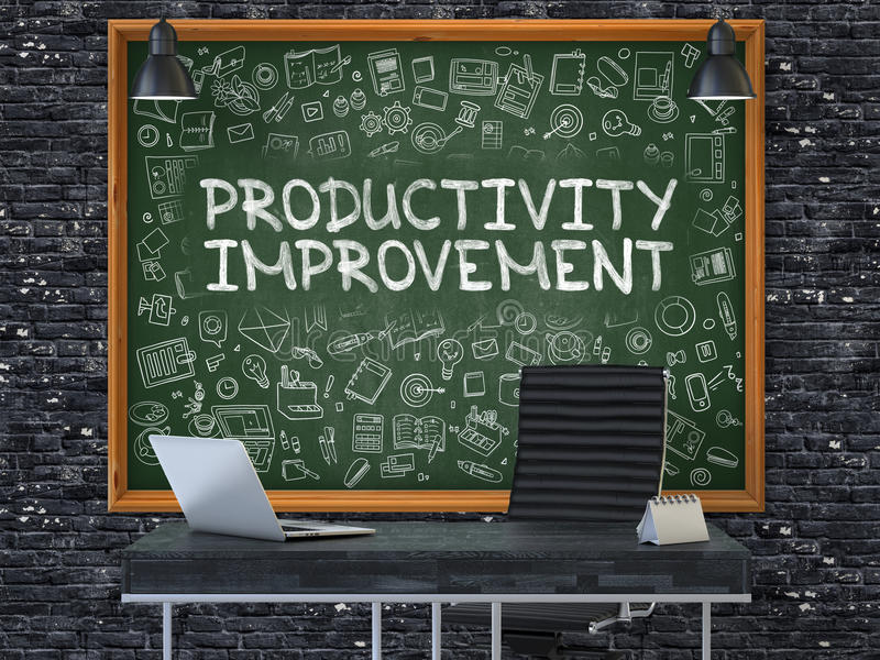 Mejora de productividad - mano dibujada en la pizarra verde 3d libre illustration