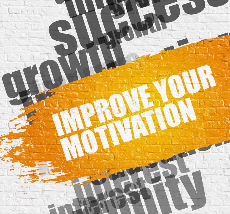 Mejore su motivación en la pared de ladrillo blanca stock de ilustración