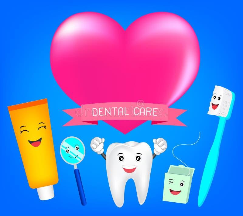 Mejores amigos de los dientes con el corazón stock de ilustración